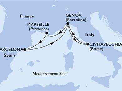 MSC World Cruise Italia, Francia, Spagna